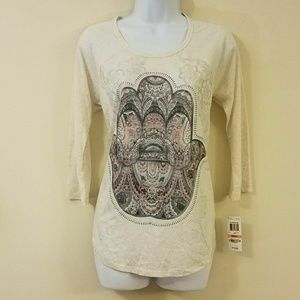Style & Co. Beige Lotus Hand Hamsa Print Top
